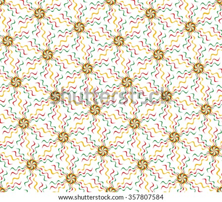 Tileable recurring warp op twisty ripply shape bright orange, red, green squiggly curvy ribbon on white fond. Colors of flag of Bolivia, Congo, Cameroon, Zimbabwe, Mali, Lithuania, Senegal, Ethiopia - stock vector