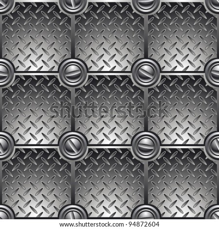 Tiled metal background connected with screws. Seamless pattern – vector. - stock vector