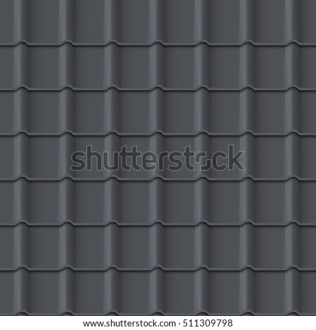 Tiled roof seamless pattern. Black color. Classic style. Vector illustration