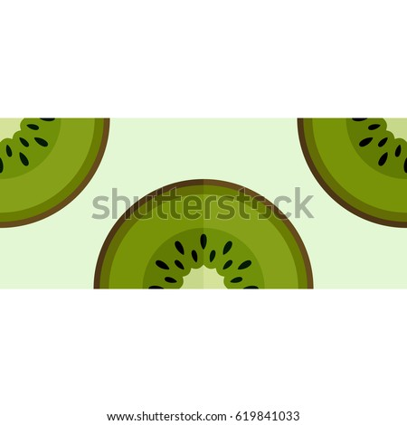 Tiled seamless pattern of green kiwi slices decorative border. Fruit mosaic print. Vector illustration.