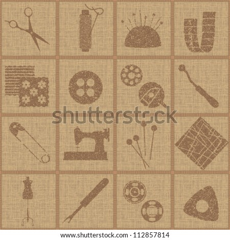 Tiled seamless pattern with sewing and tailoring symbols on canvas textured background 1 - stock vector