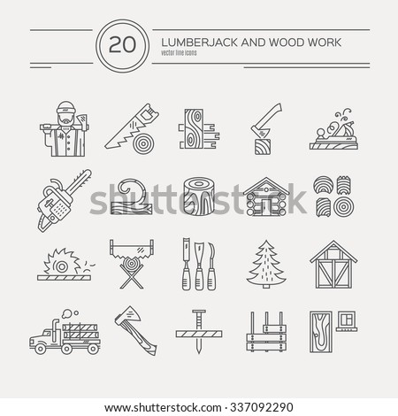 Timber industry icon collection - vector set. Modern line style collection of woodwork tools, carpentry gear. Unique and modern set isolated on background. - stock vector