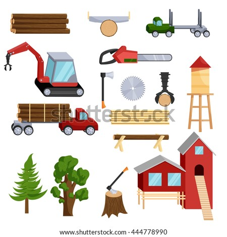 Timber industry icons set in cartoon style isolated on white background - stock vector