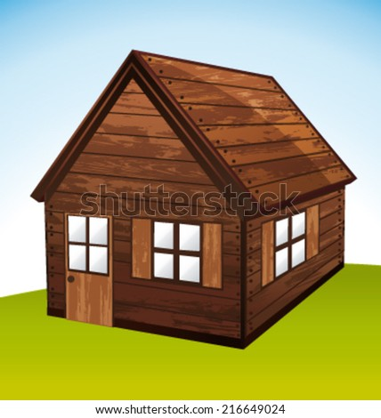 Timber log chalet. Vector icon. - stock vector