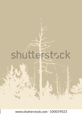 timber silhouette on brown background, vector illustration