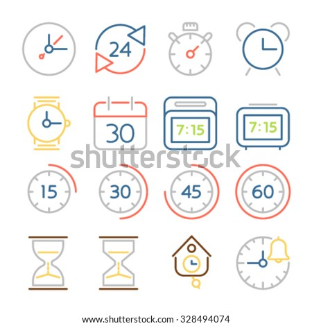 Time and clock icons, flat design, colorful thin line style