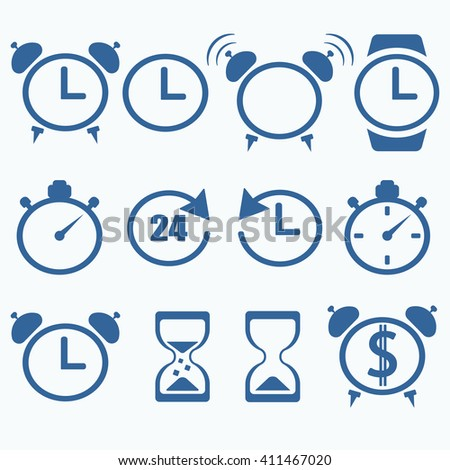 Time and Clock icons on white background. Vector illustration. Flat design.