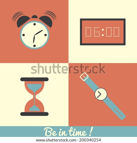 TIme and clock icons / Vector illustration - stock vector