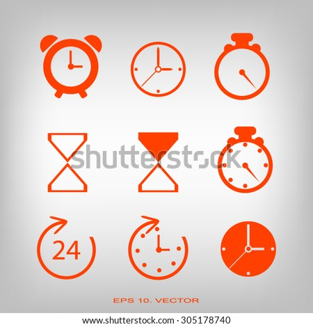 Time and Clock icons. Vector illustration.