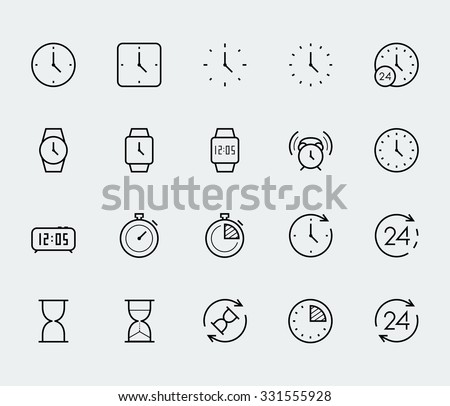 Time and clock vector icon set in thin line style - stock vector