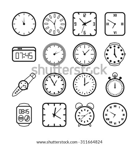 Time and clocks icons set. Timer and alarm, second pointer, digital equipment, vector illustration - stock vector