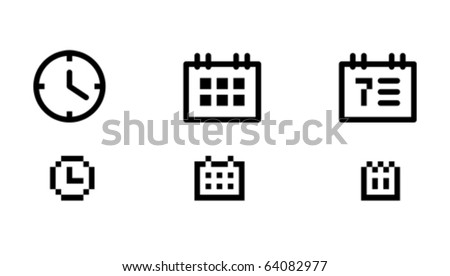 Time and date icons. Icons are aligned to pixel grid. This means that the images are prepared for use in small-sizes. Perfectly for the Web. - stock vector