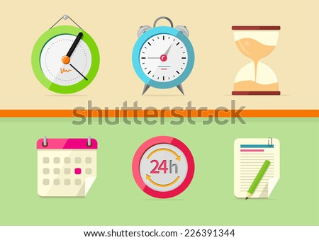 Time and date icons in cartoon design style. Set of watch hourglass alarm calendar notepad - stock vector