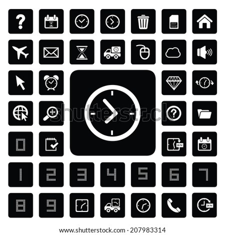 time and technology vector icon set    - stock vector