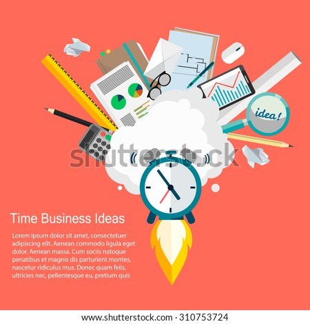 Time Business Ideas.Vector illustration of business and time management flat design  - stock vector