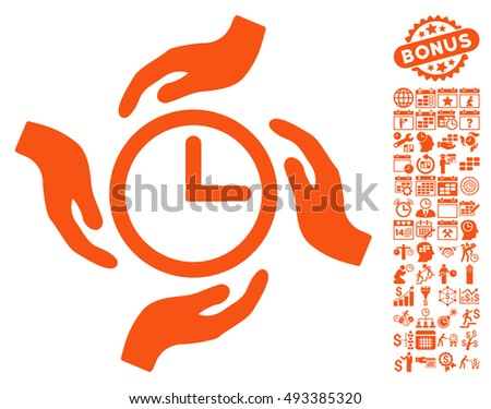 Time Care pictograph with bonus calendar and time management symbols. Vector illustration style is flat iconic symbols, orange color, white background.