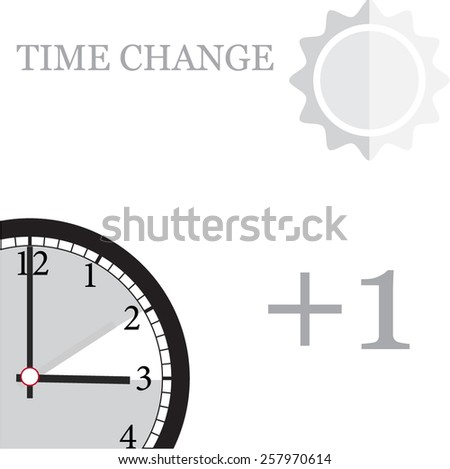 time change one hour forward  - stock vector