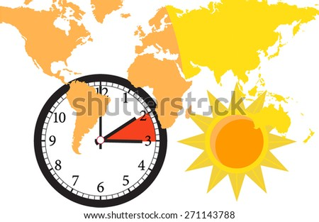 time change world zone - stock vector