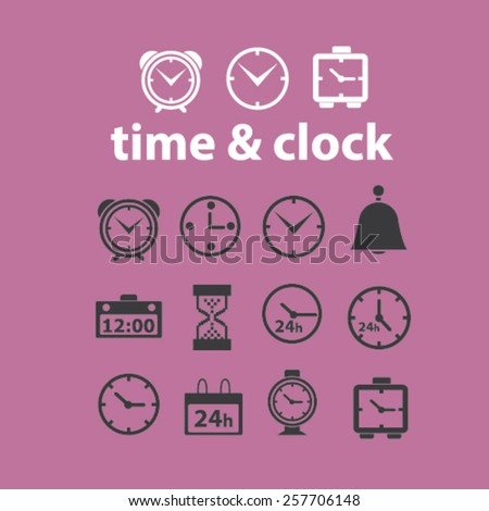 time, clock, delivery, timer, isolated icons, signs, illustrations concept design set on background for mobile application, website, adverisement, vector - stock vector