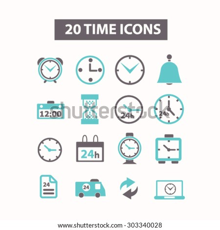 time, clock, hour, 24h flat isolated icons, signs, illustrations set, vector - stock vector