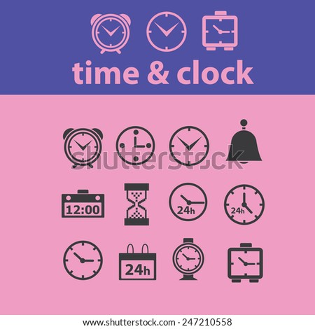 time, clock, hours, minute icons, signs, illustrations set, vector - stock vector