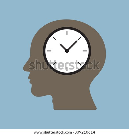 time clock in human head, time management concept. vector illustration