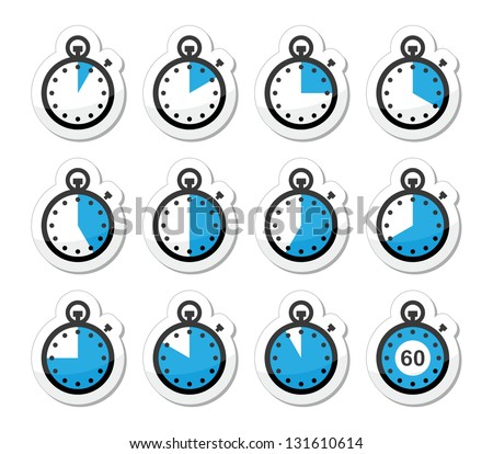 Time, clock, stopwatch vector icons set - stock vector