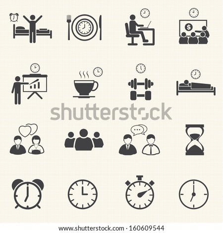 Time Daily icon set - stock vector