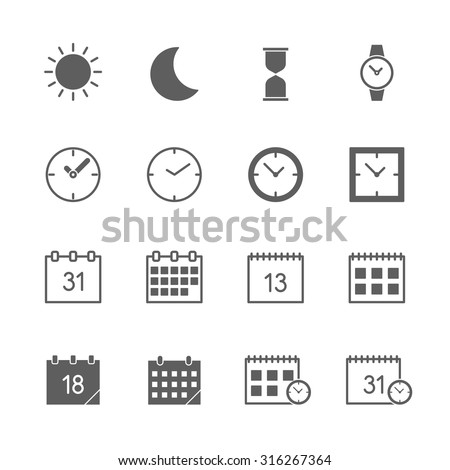 time date icons set  - stock vector