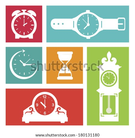 time design in squares over white background vector illustration - stock vector