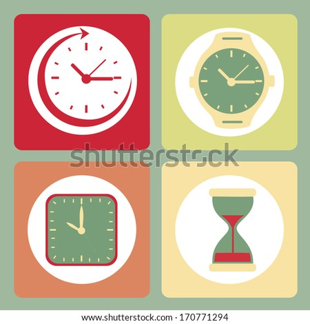 time design over blue  background vector illustration - stock vector