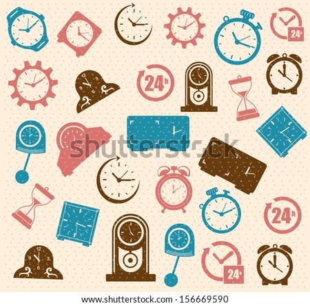time design  over pink background vector illustration - stock vector