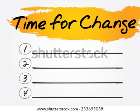 Time for Change Blank List, vector concept background - stock vector