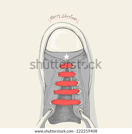 Time for Christmas. Red shoelace - stock vector