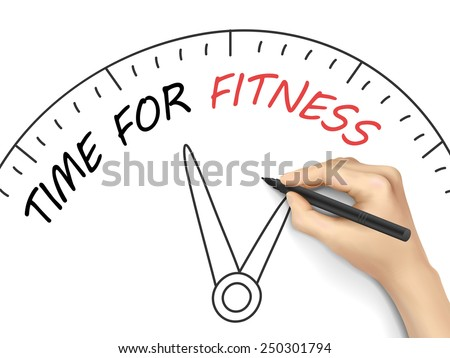 time for fitness written by hand on white background - stock vector
