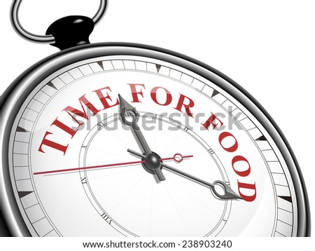time for food concept clock isolated on white background