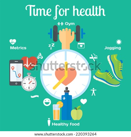 Time for healthy concept flat icons of jogging, gym, food, metrics. Isolated vector illustration and modern design element - stock vector
