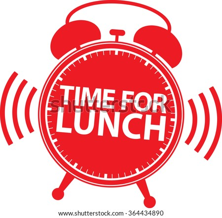 Time For Lunch Red Alarm Clock Icon Vector Illustration