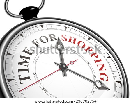 time for shopping concept clock isolated on white background - stock vector