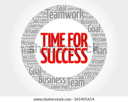 Time for Success circle word cloud, business concept - stock vector