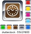 Time glossy square web buttons. - stock vector