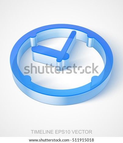 Time icon: extruded Blue Transparent Plastic Clock with transparent shadow, EPS 10 vector illustration.