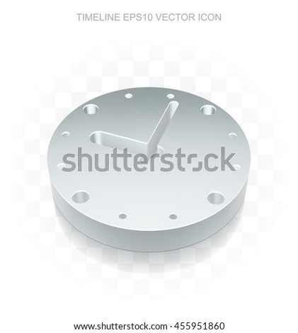 Time Icon: Flat Metallic 3d Clock, Transparent Shadow On Light Background,  EPS 10