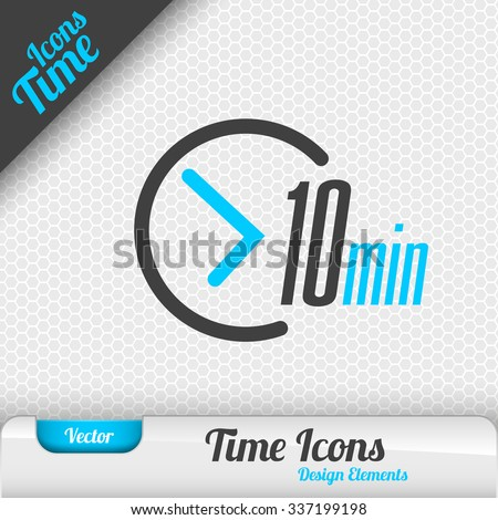 Time icon on the gray background. 10 minutes symbol. Vector design elements. - stock vector