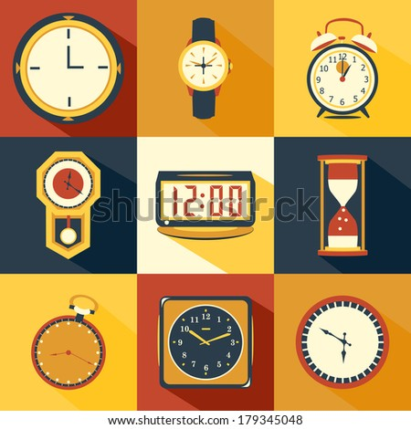 Time Icons - stock vector