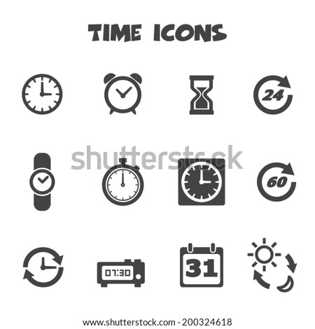 time icons, mono vector symbols