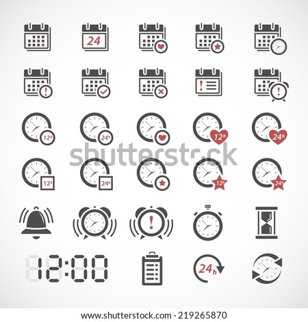Time icons set - stock vector