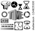 time icons, signs and symbols set - stock vector