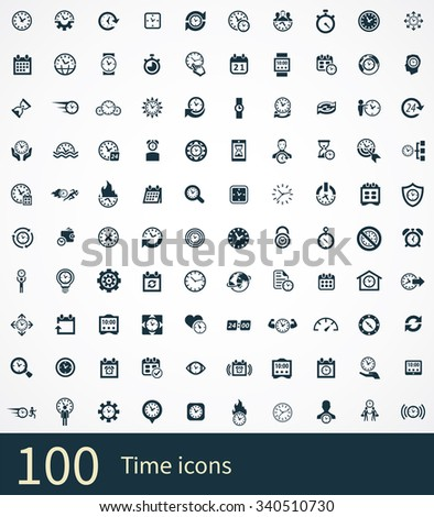 time Icons Vector set. time Icons Symbol set. time Icons Picture set. time Icon Image set. time Icons Shape set. time Icons Sign set 100 icons universal set for web and mobile  - stock vector