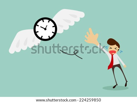 Time is flying away from sadness businessman,vector illustration - stock vector